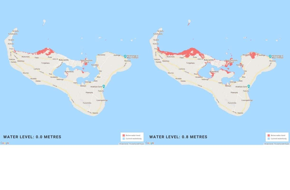 Expected sea level rise in Tonga