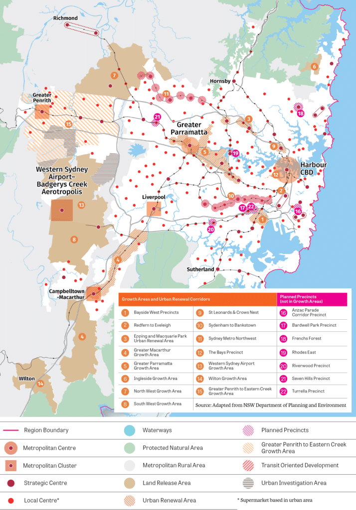 Map of planned urban renewal in Sydney